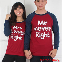 Baju Hoodie Couple Sweater Kapel Right Maroon Navy 11163