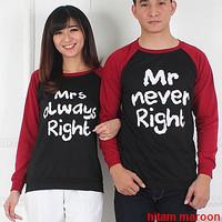Baju Hoodie Couple Sweater Kapel Right Hitam Maroon 11162