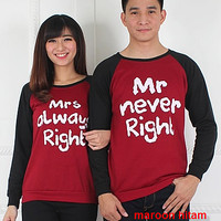 Baju Hoodie Couple Sweater Kapel Right Maroon Hitam 11161