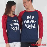 Baju Hoodie Couple Sweater Kapel Right Navy Maroon 11164