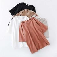 Kaos T Shirt Model Longgar Round Neck Warna Polos Gaya Korea