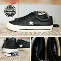 Sepatu Converse ONE STAR Pro LEATHER Ox black white Original Premium