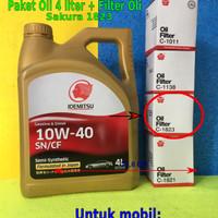 Paket Oli Livina Evalia March isi 4 Liter Idemitsu 10W40 + Filter OIL