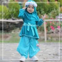 Levia Set - Baju Muslim Balita - Gamis Setelan dengan Headband 1-2thn