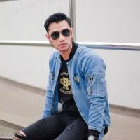 bomber jeans jaket denim biru muda bioblitz