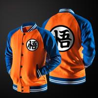 Jaket Sweater Anime Varsity Dragonball Orange Blue Pria Wanita Hoodie