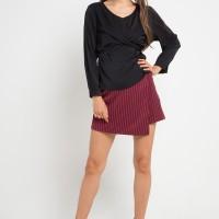 MINEOLA V Neck Waist Tie Blouse Black (11903105FB)