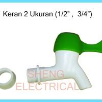 """Kran Air Keran Air Plastik 2 ukuran 1/2 in 3/4"""" in"""