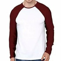 kaos polos raglan cotton combed 30s lengan panjang warna putih maroon