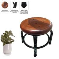 Kursi Kayu Duduk Pendek Bentuk Bulat 26cm - Coklat