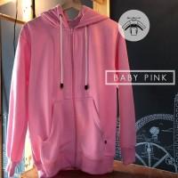 jaket zipper hoodie pink baby polos jumbo
