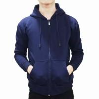 jaket zipper hoodie navy polos jumbo