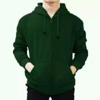jaket ziper hoodie hijau polos jumbo
