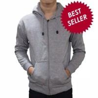 jaket zipper hoodie polos abu misty / jaket resleting abu polos