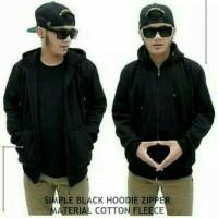 jaket zipper hoodie hitam polos resleting