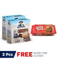 Quaker 3in1 Cokelat Box 4 Sachets - Twin Pack FREE Good Time Classic
