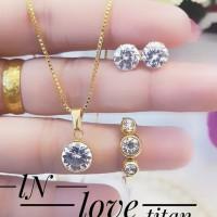 Titanium set perhiasan lapis emas 24K 220014