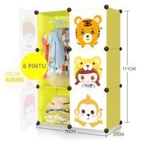 Lemari pakaian plastik portable anak lemari susun baju rak buku 6P