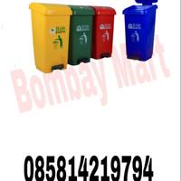 tempat sampah injak segi 50liter bio green leaf 2160 - Abu-abu