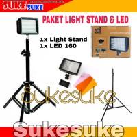 Paket LED 160 video lighting dan Light Stand Murah