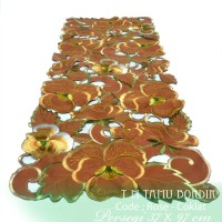 Taplak Meja Tamu Bordir Import Minimalis Rose Coklat