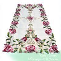 Taplak Meja Tamu Cream Rose Pink