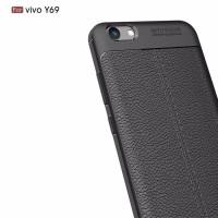 Leather Case Vivo Y69 slim Auto Focus carbon soft