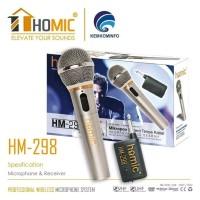 Mic Microphone Single Wireless Homic HM-298 Karaoke bahan Metal