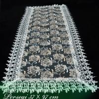 Taplak Meja Tamu Burkat Lace Putih Import WB015