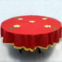 Taplak Meja Makan 4 Kursi Tenun Motif Bunga-Bulat