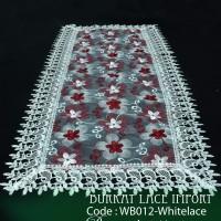 Taplak Meja Tamu Cantik Burkat Lace White Import WB012