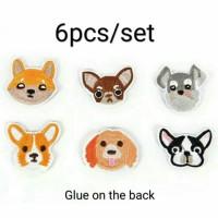 Bordir tempel anjing 6pcs/set / iron patch dog chihuahua corgi fox ter