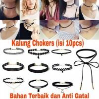 Kalung Chokers Korean Style (1 Set / Isi 10pcs) Terlaris !!