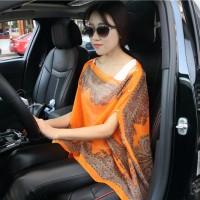 Floral Batik Print Blouse-Selendang Syal Pashmina Scarf Blezer Sifon - Orange