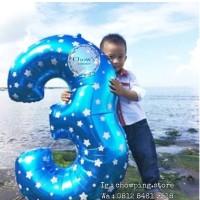 Balon Foil Angka Jumbo Biru (100cm)