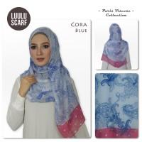 Luulu Scarf Cora Bunga Bahan Paris Hijab Motif Jilbab Impor