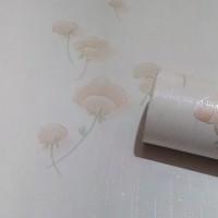 Grosir MURAH WALLPAPER Sticker Dinding Krem Garis Berbunga Coklat 10 M