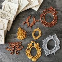 Eropa Antique Cermin Bingkai Fondant Pastry Kue Cetakan Silikon