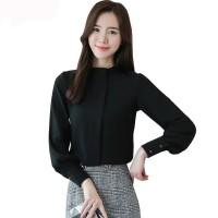 Blouse Tangan Panjang Wanita Gaya Korea Model Terbaru - jfashion Harin - Hitam, XL