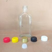 Botol kaca gepeng bening 250ml