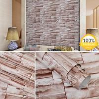 GROSIR MURAH WALLPAPER STICKER DINDING Batu Alam Coklat Elegan 10 M