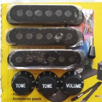 STRATOCASTER KIT REPLACEMENT BLACK COVER PICKUP GITAR SETS KNOB SWITCH