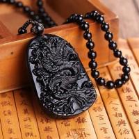Kalung Pria Simbol Keberuntungan Liontin Batu Obsidian
