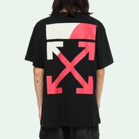 Off White Diagonal Split Logo - Black Red T-shirt 100% Original