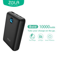 ZOLA Powerbank Bolt 10000mAh,3 Input Digital Display Fast Charge 2.1A