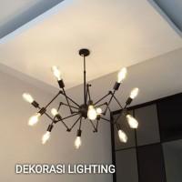 L636/12L lampu gantung laba laba hias bisa atur teku dekor kafe retro
