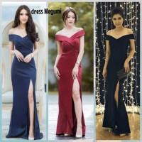 MAXI LONG DRESS PANJANG SABRINA NAVY/ MAROON/ HITAM MEGUMI JURE