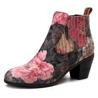 Terbaru SOCOFY Handmade Floral Pattern Velvet Cloth Slip On Block