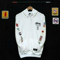 Sweater cowok murah hoodie STUSSY WORLD TOUR | FLAG GG / FIT L