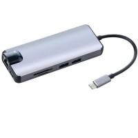 8 In1 TipeC untuk TipeC HDMI VGA RJ45 USB 30 Micro TFSD Pembaca